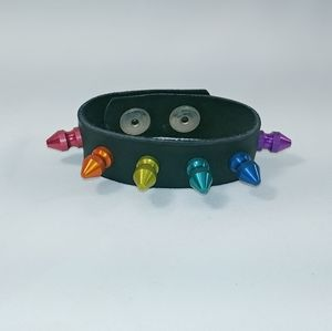 Jewelry - Rainbow Colored Spikes On Black Band Bracelet